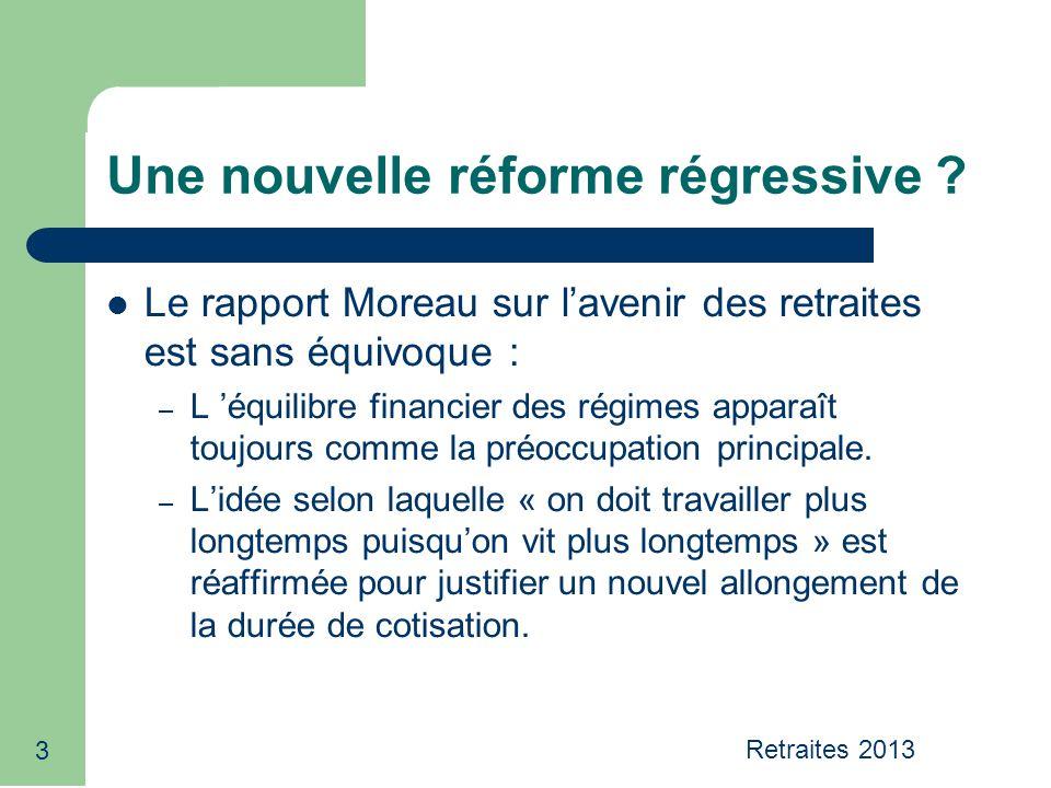 Le rapport Moreau sur lavenir des retraites est sans équivoque : – L équilibre financier des régimes apparaît toujours comme la préoccupation principa