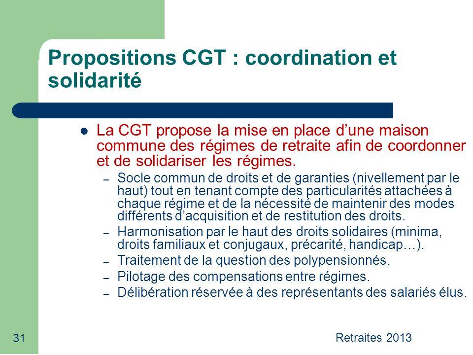 31 Propositions CGT : coordination et solidarité La CGT propose la mise en place dune maison commune des régimes de retraite afin de coordonner et de