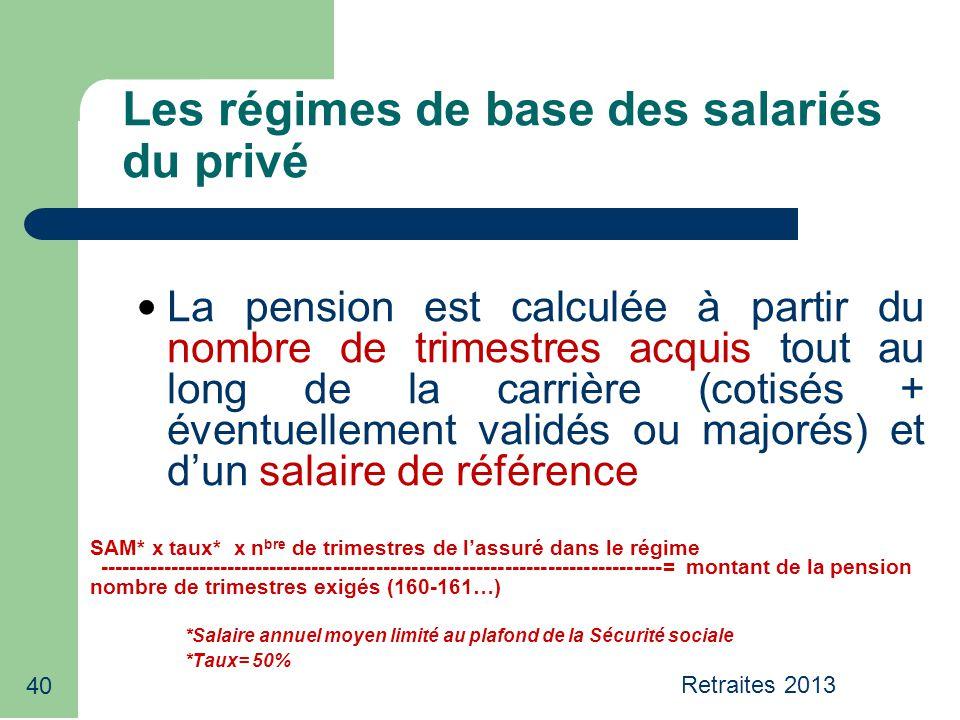 Retraites 2013 40 Les régimes de base des salariés du privé La pension est calculée à partir du nombre de trimestres acquis tout au long de la carrièr