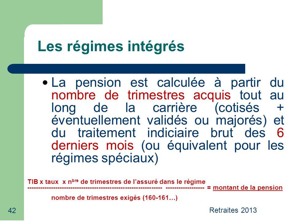Retraites 2013 42 La pension est calculée à partir du nombre de trimestres acquis tout au long de la carrière (cotisés + éventuellement validés ou maj