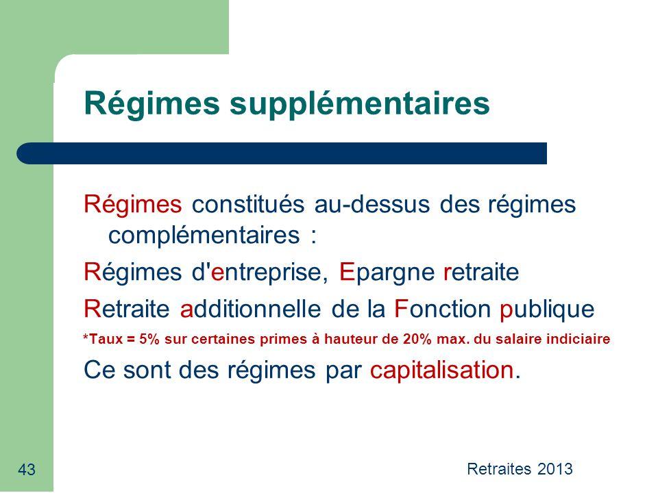 Retraites 2013 43 Régimes supplémentaires Régimes constitués au-dessus des régimes complémentaires : Régimes d'entreprise, Epargne retraite Retraite a