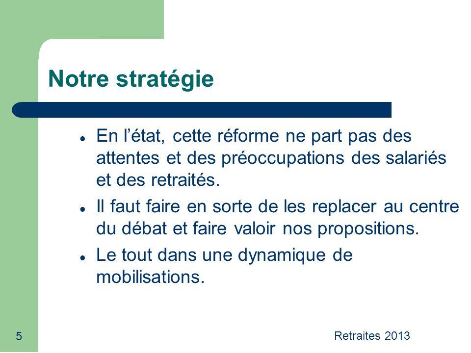 5 Notre stratégie En létat, cette réforme ne part pas des attentes et des préoccupations des salariés et des retraités. Il faut faire en sorte de les