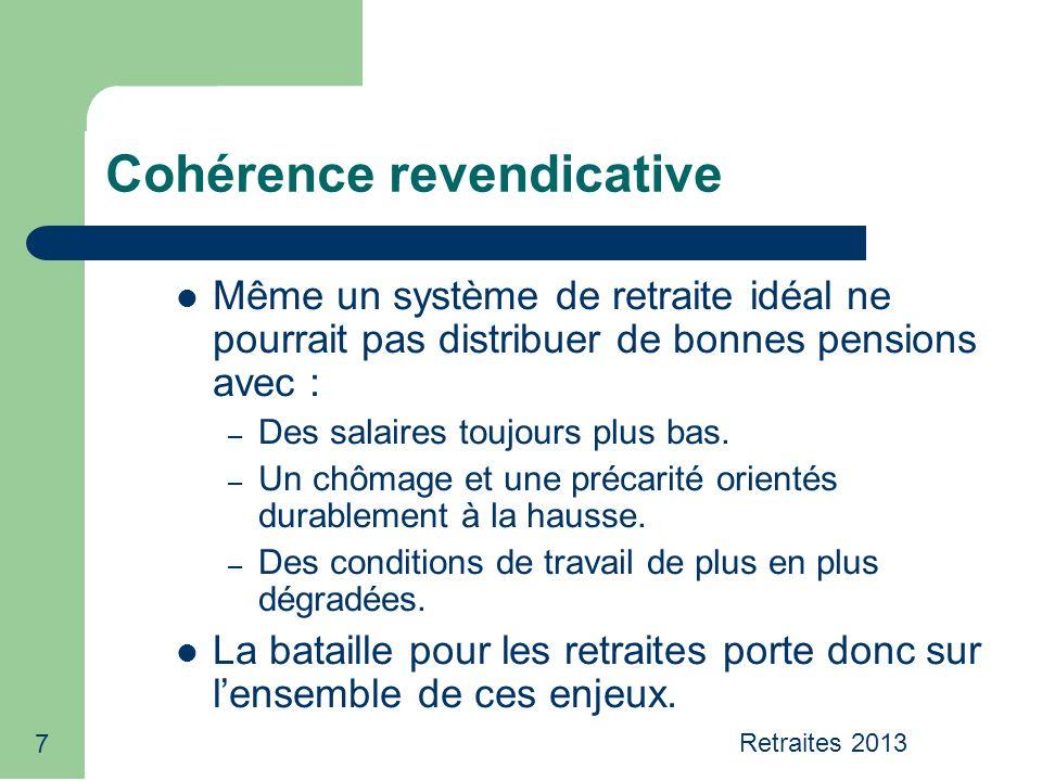 7 Cohérence revendicative Même un système de retraite idéal ne pourrait pas distribuer de bonnes pensions avec : – Des salaires toujours plus bas. – U