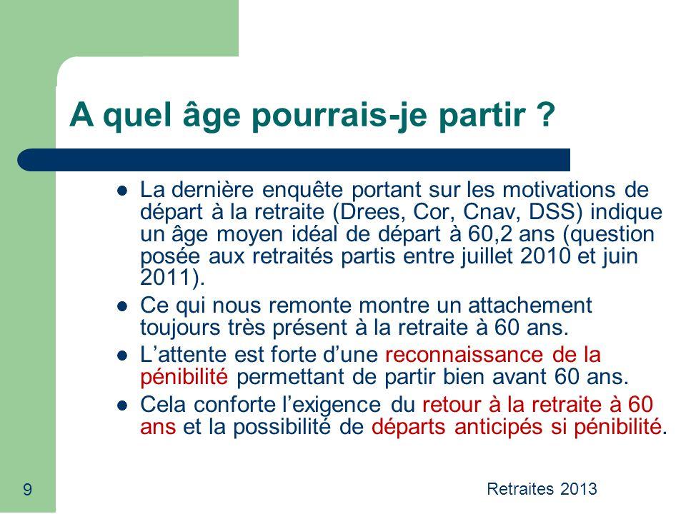 Retraites 2013 40 Les régimes de base des salariés du privé La pension est calculée à partir du nombre de trimestres acquis tout au long de la carrière (cotisés + éventuellement validés ou majorés) et dun salaire de référence SAM* x taux* x n bre de trimestres de lassuré dans le régime -------------------------------------------------------------------------------= montant de la pension nombre de trimestres exigés (160-161…) *Salaire annuel moyen limité au plafond de la Sécurité sociale *Taux= 50%