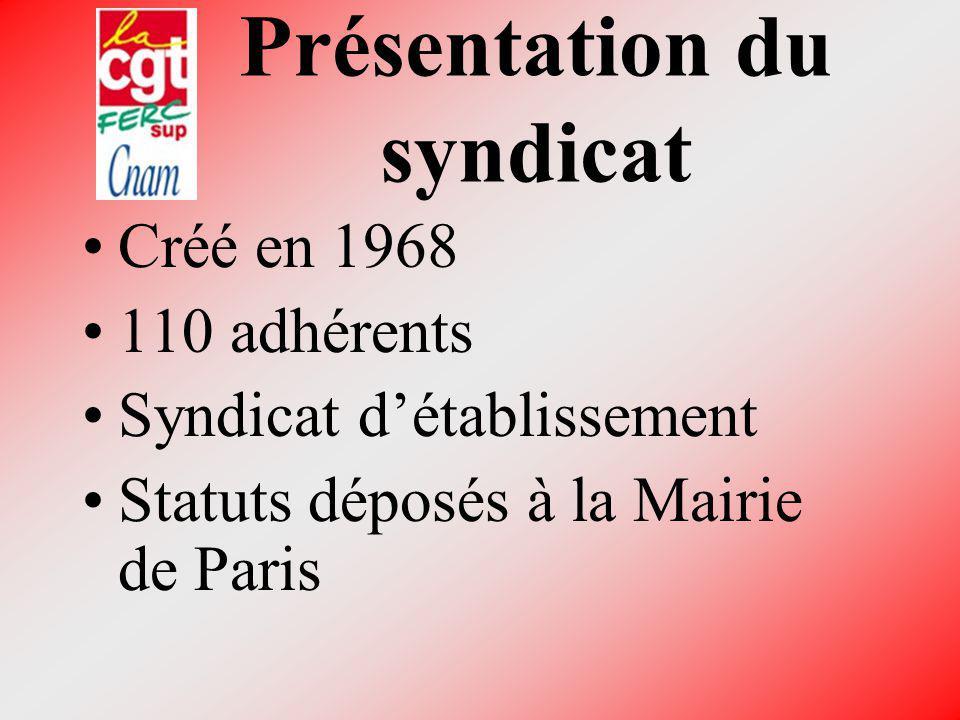 Présentation du syndicat Créé en 1968 110 adhérents Syndicat détablissement Statuts déposés à la Mairie de Paris