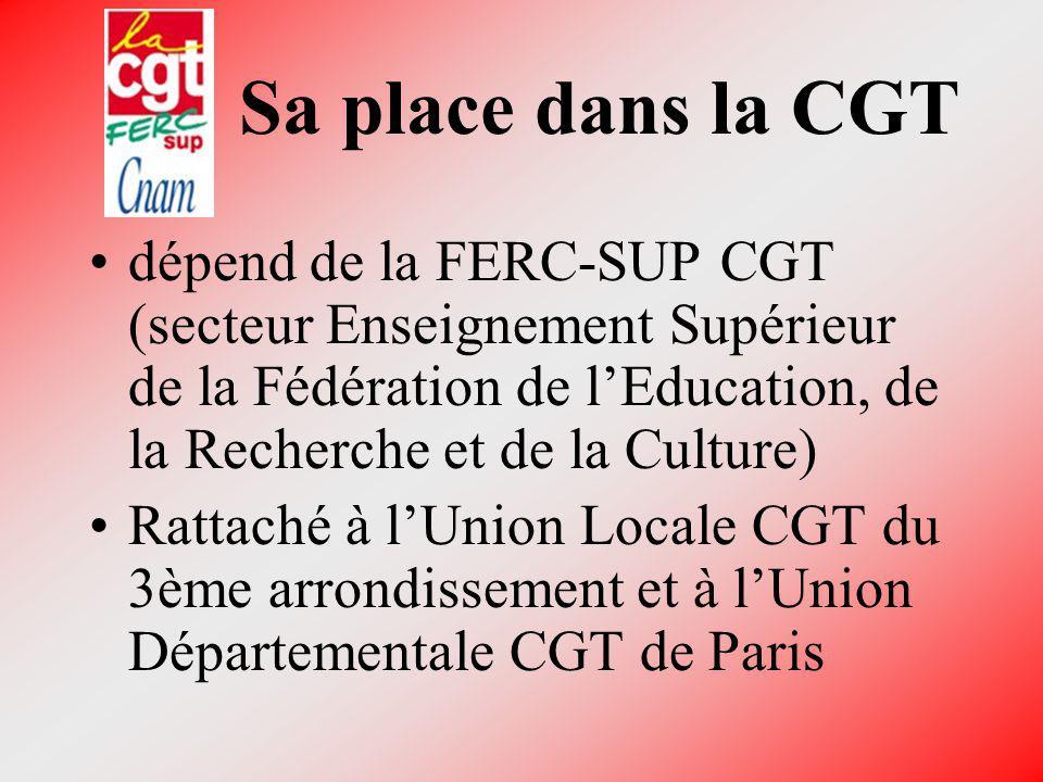 Sa place dans la CGT dépend de la FERC-SUP CGT (secteur Enseignement Supérieur de la Fédération de lEducation, de la Recherche et de la Culture) Ratta