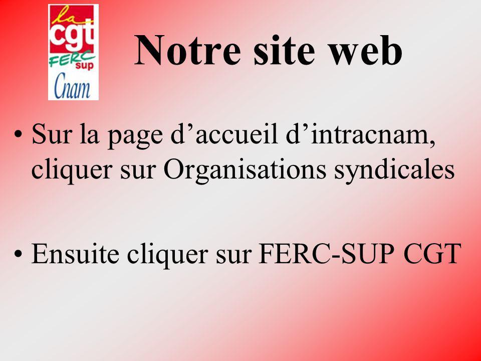 Notre site web Sur la page daccueil dintracnam, cliquer sur Organisations syndicales Ensuite cliquer sur FERC-SUP CGT