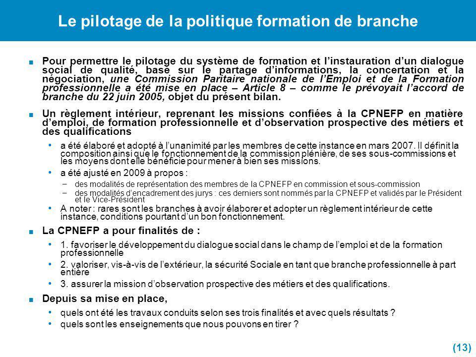 Le pilotage de la politique formation de branche Pour permettre le pilotage du système de formation et linstauration dun dialogue social de qualité, b