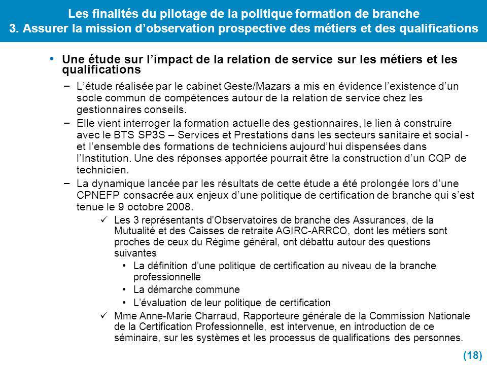 Les finalités du pilotage de la politique formation de branche 3. Assurer la mission dobservation prospective des métiers et des qualifications Une ét