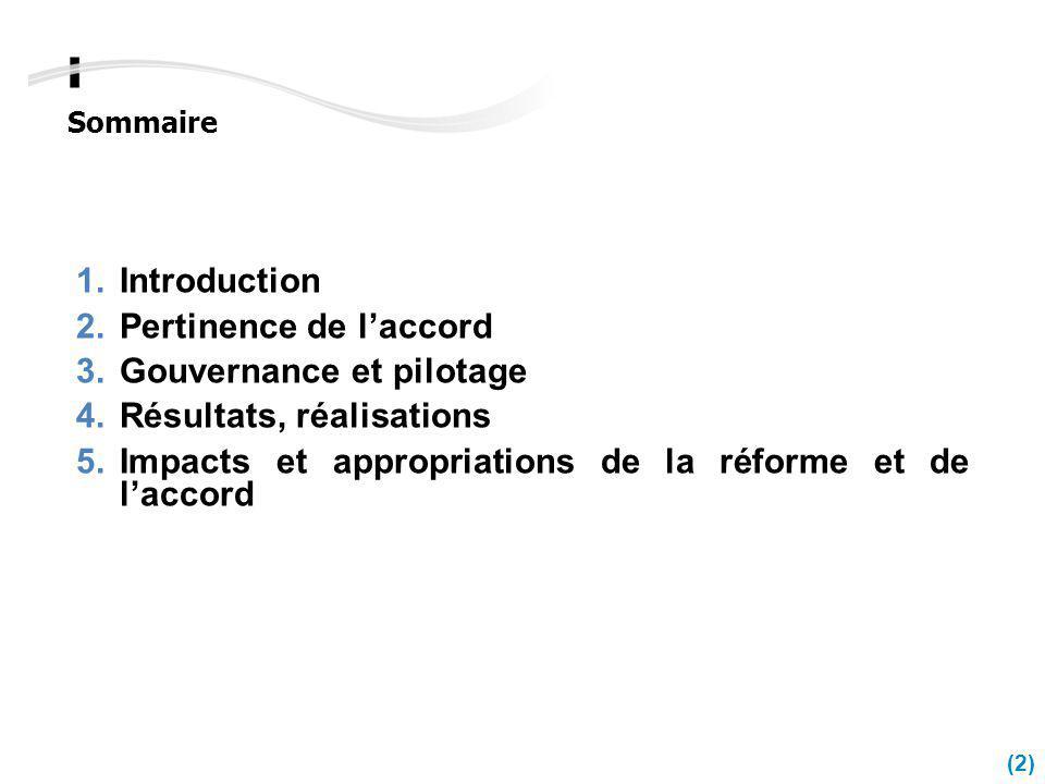 Sommaire Introduction Pertinence de laccord Gouvernance et pilotage Résultats, réalisations Impacts et appropriations de la réforme et de laccord (2)