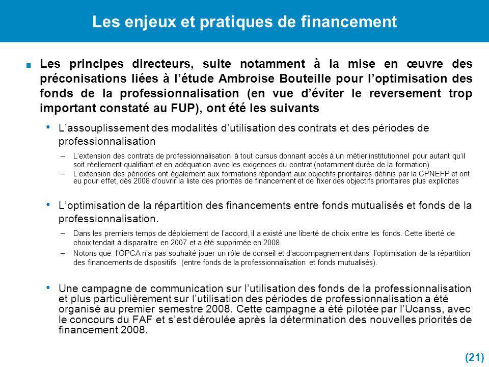 Les enjeux et pratiques de financement Les principes directeurs, suite notamment à la mise en œuvre des préconisations liées à létude Ambroise Bouteil