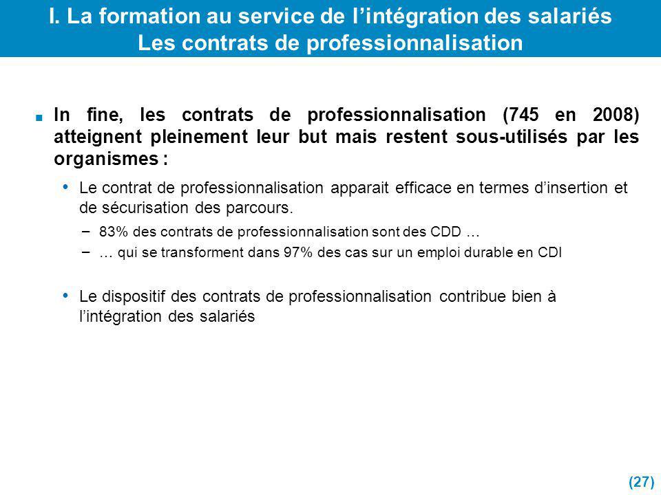 I. La formation au service de lintégration des salariés Les contrats de professionnalisation In fine, les contrats de professionnalisation (745 en 200
