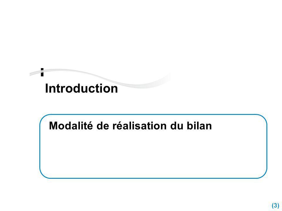 (3) Introduction Modalité de réalisation du bilan