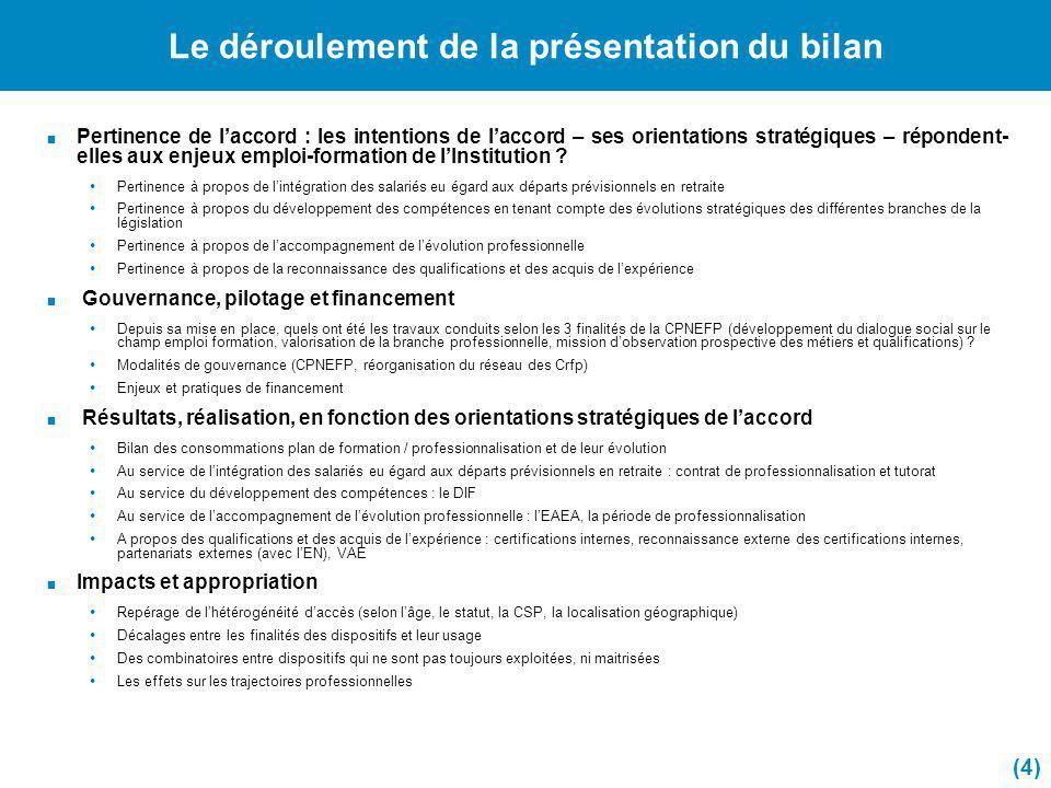 Le déroulement de la présentation du bilan Pertinence de laccord : les intentions de laccord – ses orientations stratégiques – répondent- elles aux en