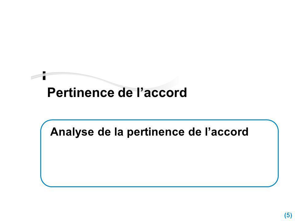 (5) Pertinence de laccord Analyse de la pertinence de laccord