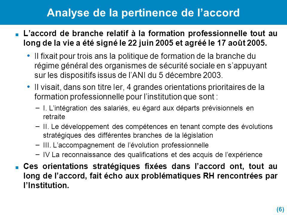 Analyse de la pertinence de laccord 1.