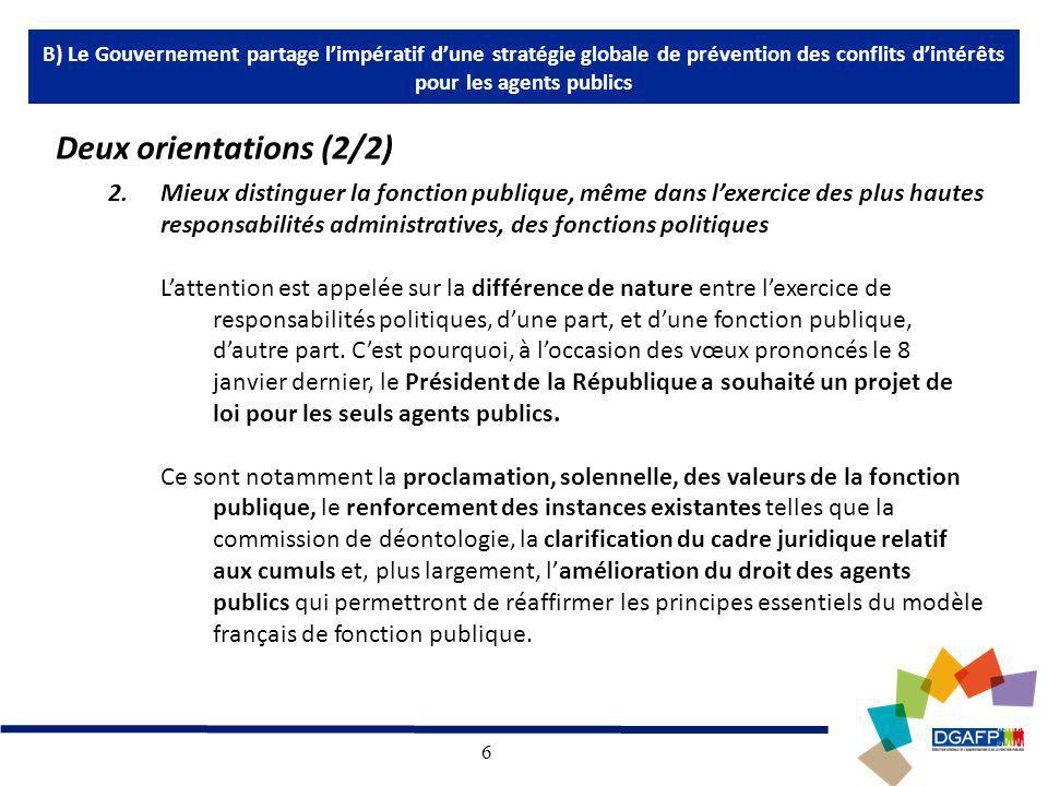 6 2.Mieux distinguer la fonction publique, même dans lexercice des plus hautes responsabilités administratives, des fonctions politiques Lattention est appelée sur la différence de nature entre lexercice de responsabilités politiques, dune part, et dune fonction publique, dautre part.