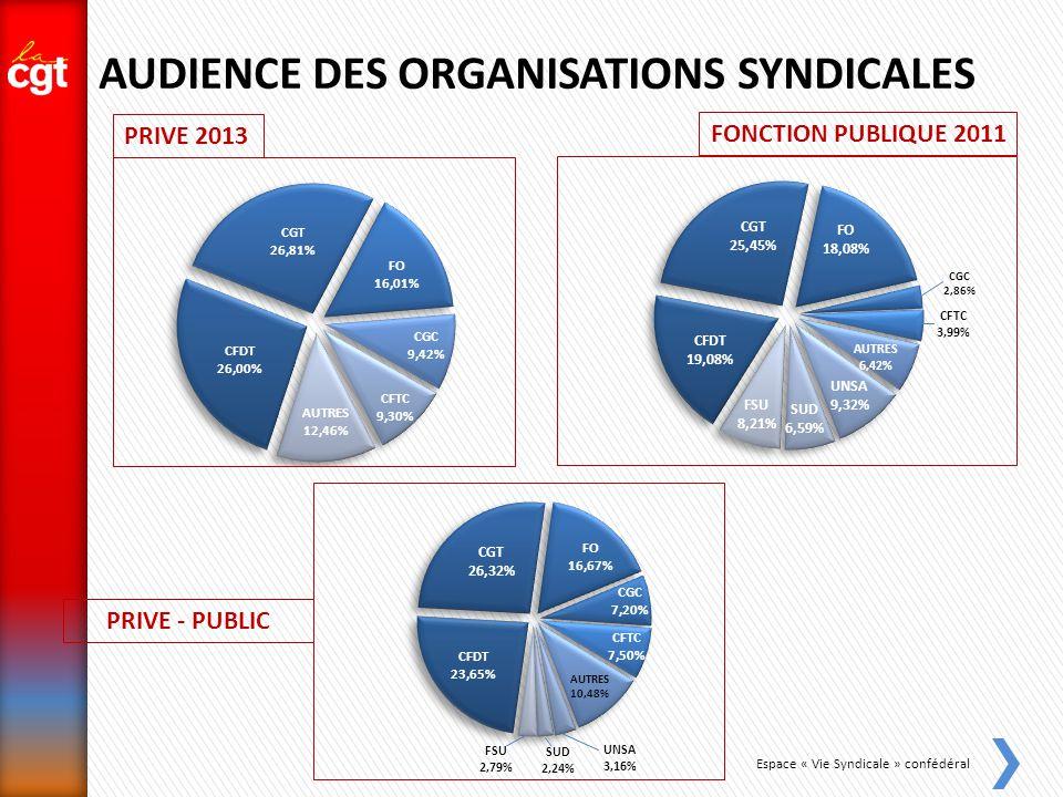 Espace « Vie Syndicale » confédéral AUDIENCE DES ORGANISATIONS SYNDICALES FONCTION PUBLIQUE 2011 PRIVE 2013 PRIVE - PUBLIC