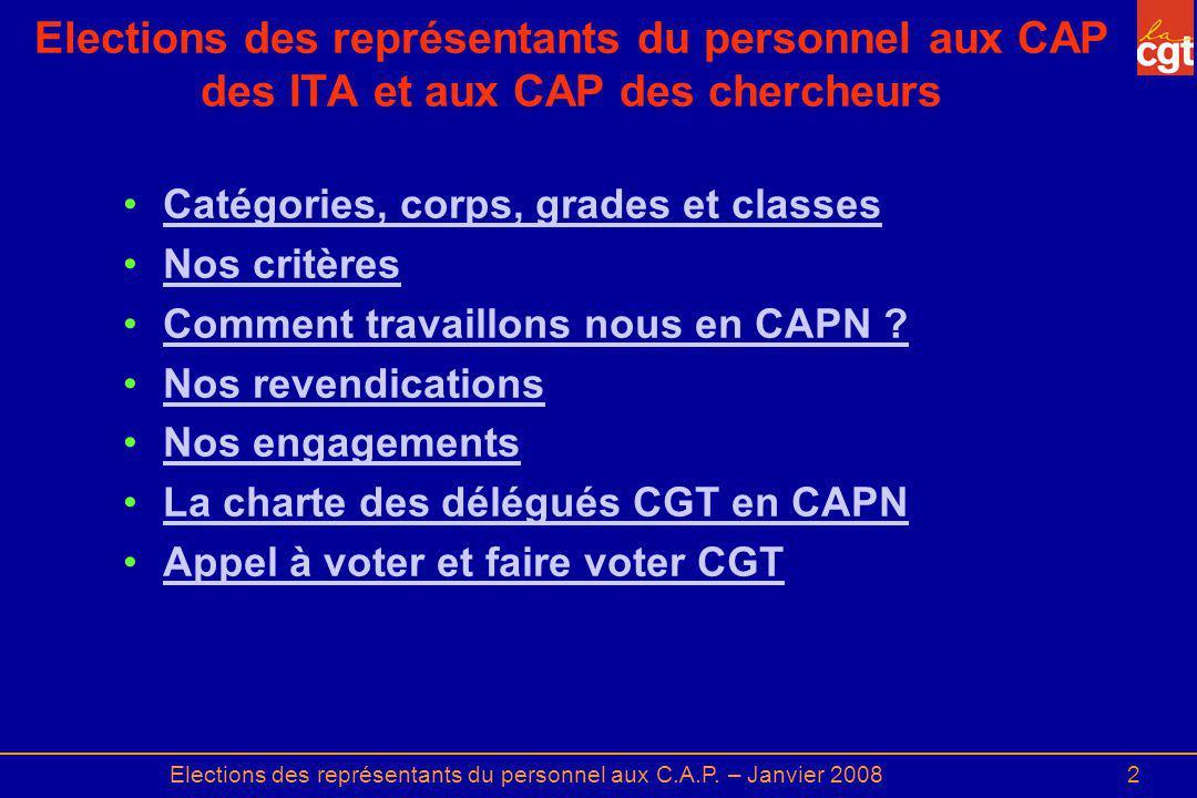 2 Elections des représentants du personnel aux CAP des ITA et aux CAP des chercheurs Catégories, corps, grades et classes Nos critères Comment travail