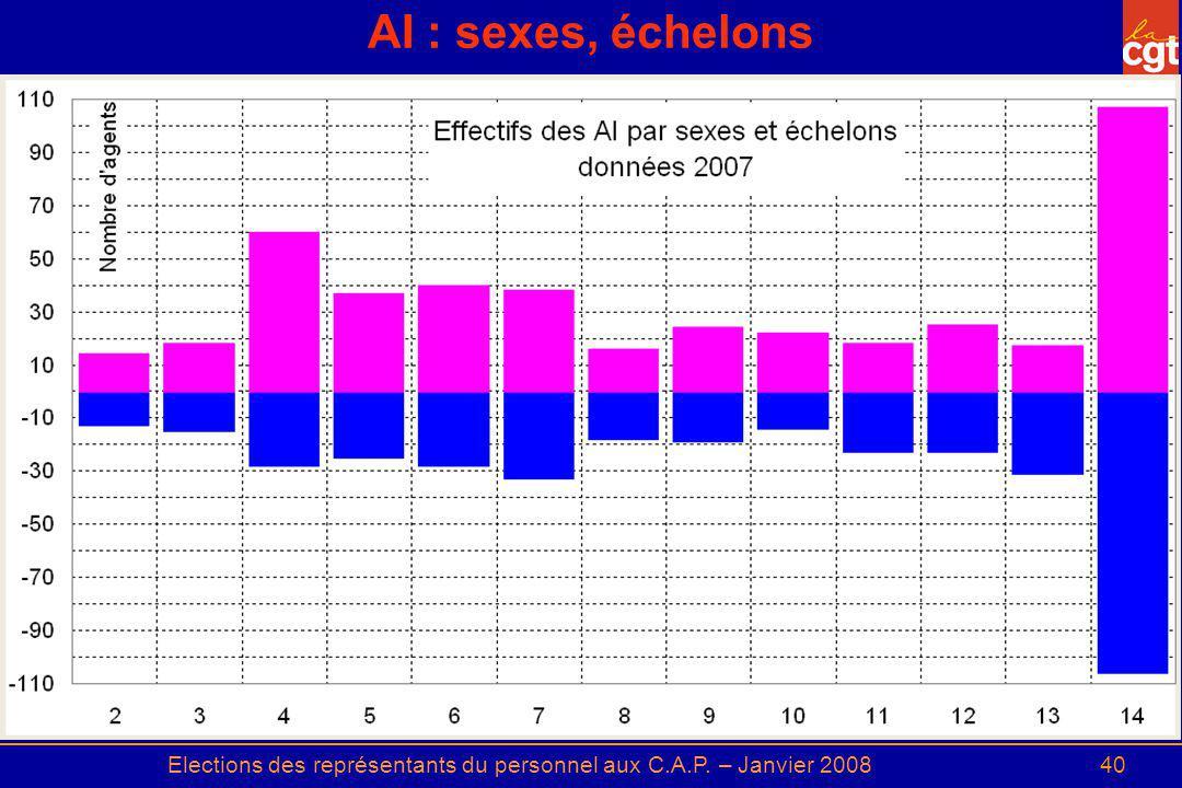 Elections des représentants du personnel aux C.A.P. – Janvier 200840 AI : sexes, échelons