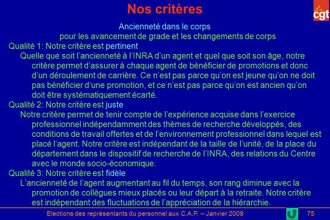 Elections des représentants du personnel aux C.A.P. – Janvier 200875 Nos critères Ancienneté dans le corps pour les avancement de grade et les changem