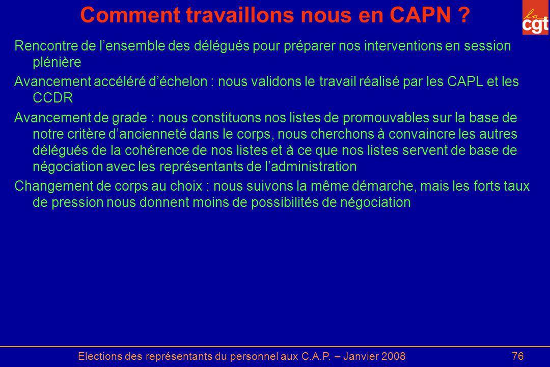 Elections des représentants du personnel aux C.A.P. – Janvier 200876 Comment travaillons nous en CAPN ? Rencontre de lensemble des délégués pour prépa