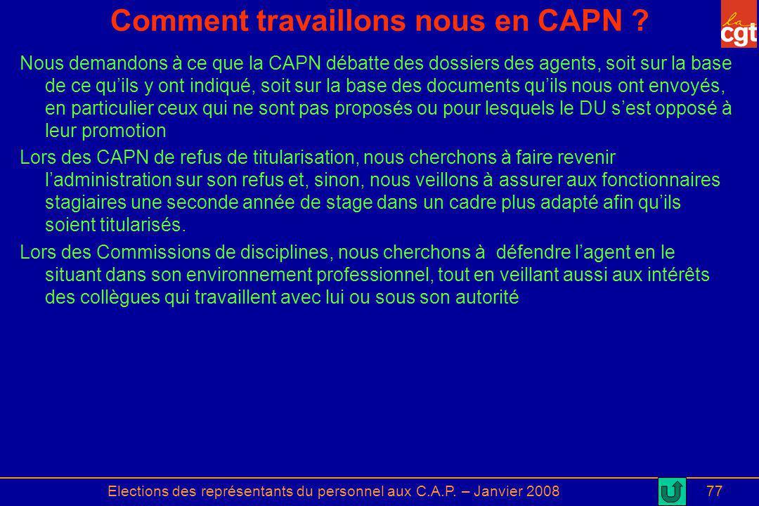Elections des représentants du personnel aux C.A.P. – Janvier 200877 Comment travaillons nous en CAPN ? Nous demandons à ce que la CAPN débatte des do