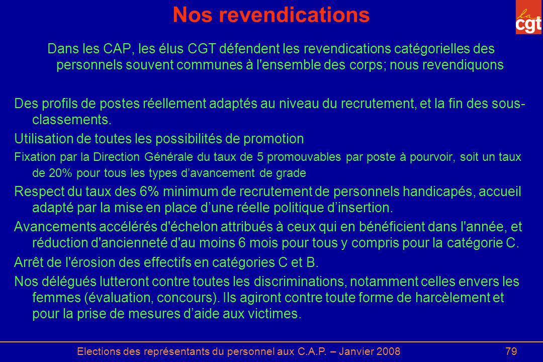 Elections des représentants du personnel aux C.A.P. – Janvier 200879 Nos revendications Dans les CAP, les élus CGT défendent les revendications catégo
