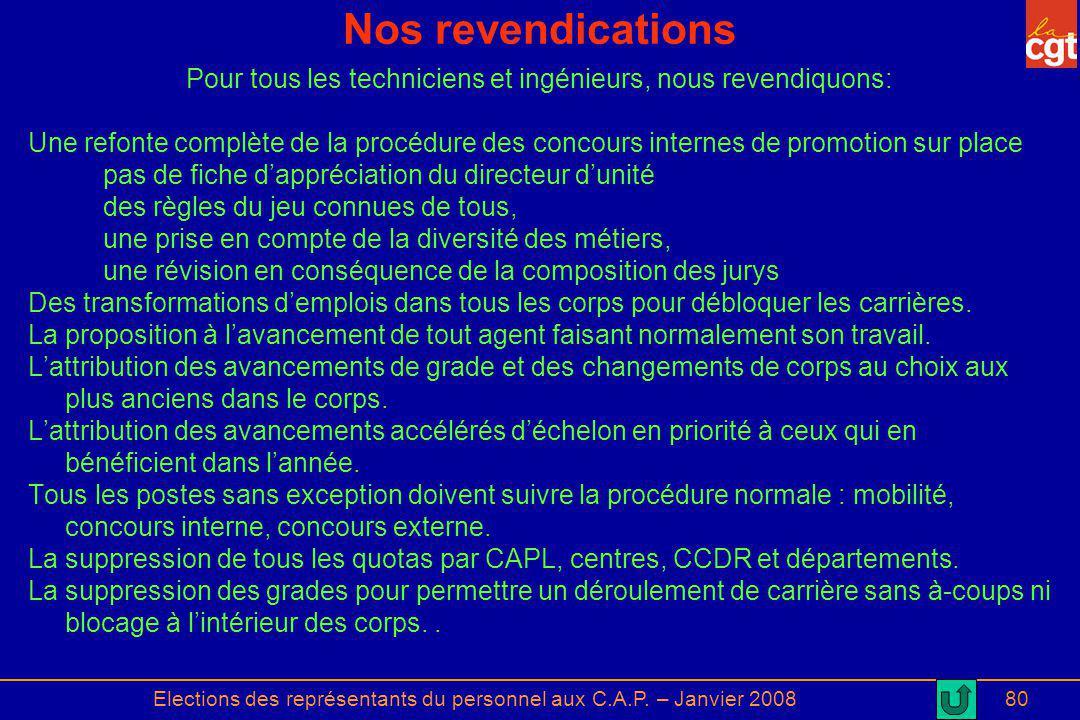 Elections des représentants du personnel aux C.A.P. – Janvier 200880 Nos revendications Pour tous les techniciens et ingénieurs, nous revendiquons: Un