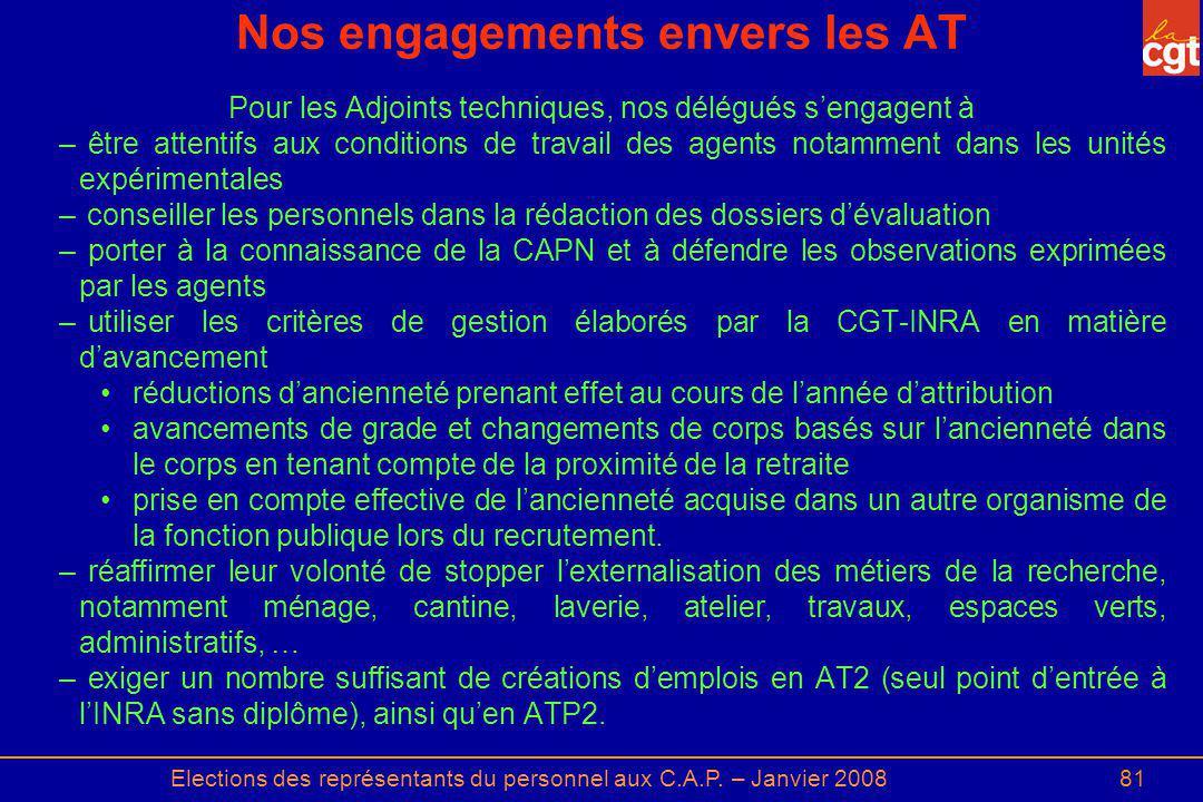 Elections des représentants du personnel aux C.A.P. – Janvier 200881 Nos engagements envers les AT Pour les Adjoints techniques, nos délégués sengagen