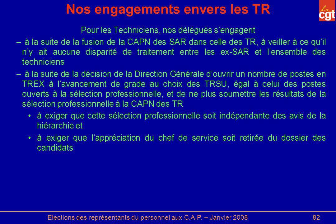 Elections des représentants du personnel aux C.A.P. – Janvier 200882 Nos engagements envers les TR Pour les Techniciens, nos délégués sengagent – à la