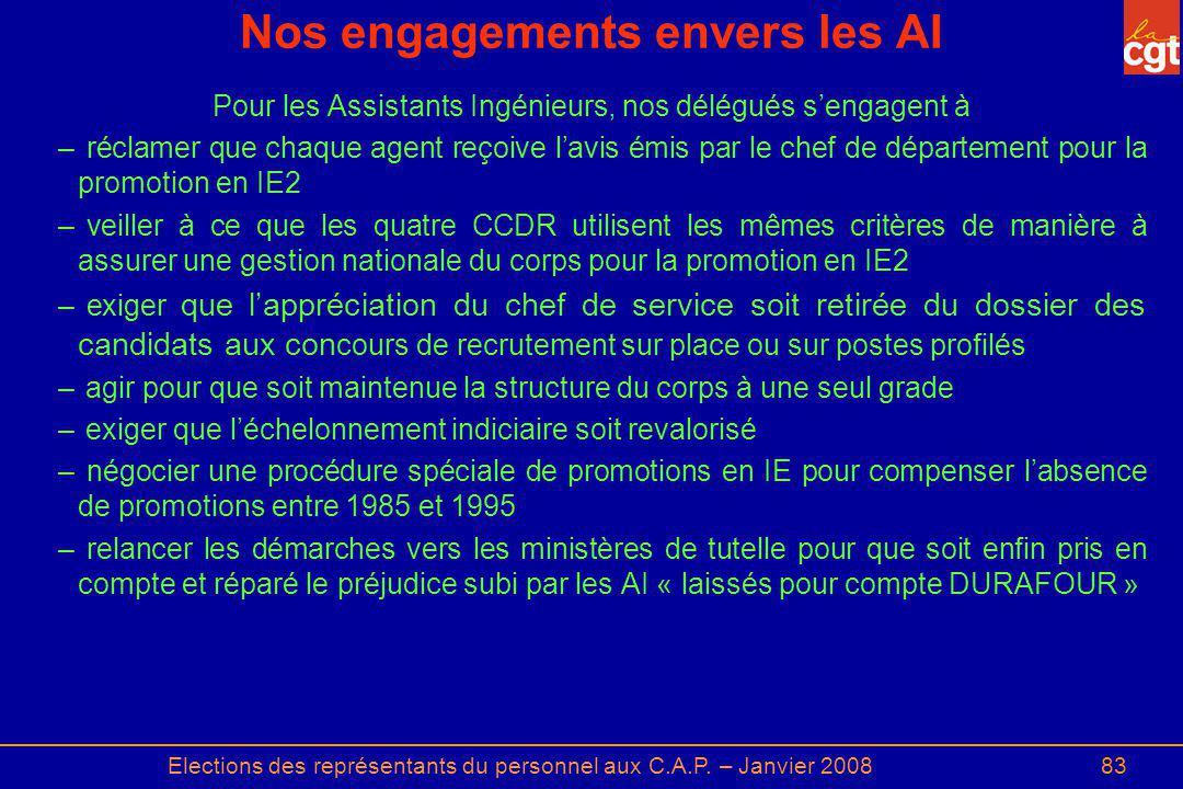 Elections des représentants du personnel aux C.A.P. – Janvier 200883 Nos engagements envers les AI Pour les Assistants Ingénieurs, nos délégués sengag