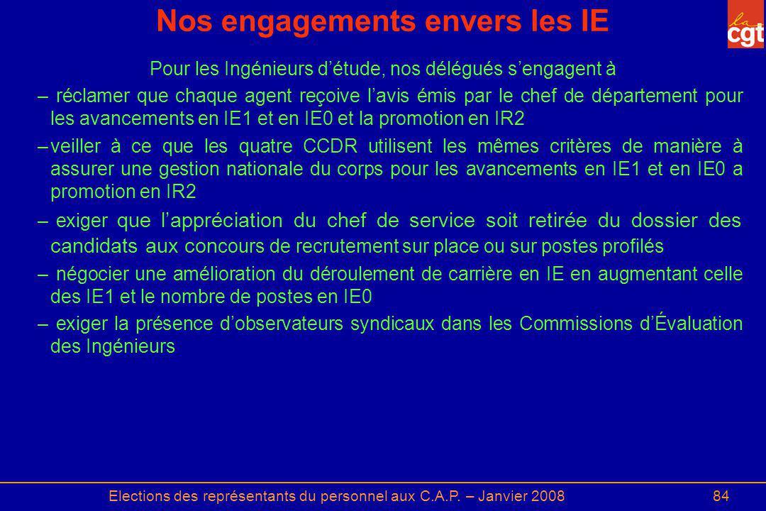Elections des représentants du personnel aux C.A.P. – Janvier 200884 Nos engagements envers les IE Pour les Ingénieurs détude, nos délégués sengagent