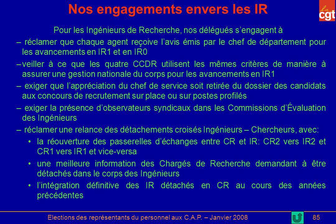 Elections des représentants du personnel aux C.A.P. – Janvier 200885 Nos engagements envers les IR Pour les Ingénieurs de Recherche, nos délégués seng