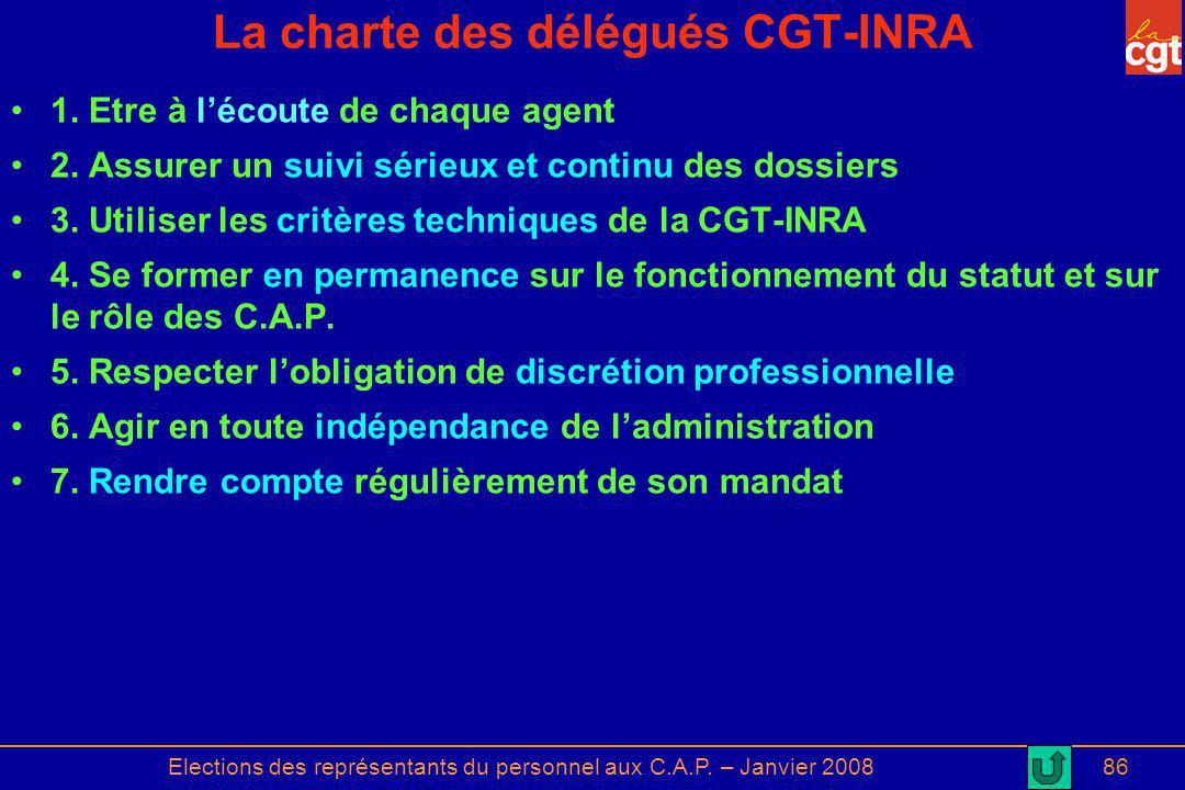 Elections des représentants du personnel aux C.A.P. – Janvier 200886 La charte des délégués CGT-INRA 1. Etre à lécoute de chaque agent 2. Assurer un s