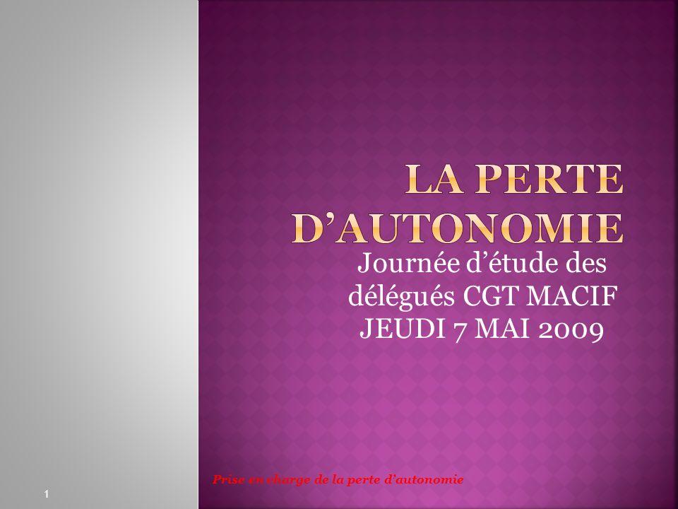 Journée détude des délégués CGT MACIF JEUDI 7 MAI 2009 1 Prise en charge de la perte dautonomie