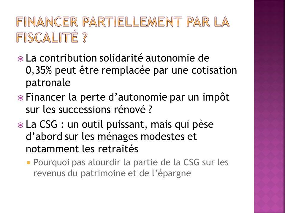 La contribution solidarité autonomie de 0,35% peut être remplacée par une cotisation patronale Financer la perte dautonomie par un impôt sur les succe