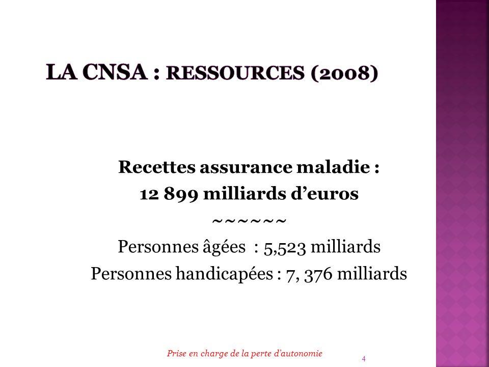 4 Recettes assurance maladie : 12 899 milliards deuros ~~~~~~ Personnes âgées : 5,523 milliards Personnes handicapées : 7, 376 milliards Prise en char