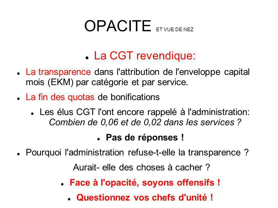 OPACITE ET VUE DE NEZ La CGT revendique: La transparence dans l'attribution de l'enveloppe capital mois (EKM) par catégorie et par service. La fin des
