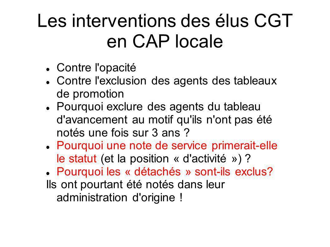 Les interventions des élus CGT en CAP locale Contre l'opacité Contre l'exclusion des agents des tableaux de promotion Pourquoi exclure des agents du t