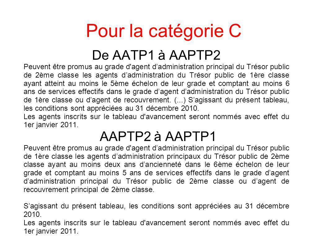 Pour la catégorie C De AATP1 à AAPTP2 Peuvent être promus au grade d'agent dadministration principal du Trésor public de 2ème classe les agents dadmin