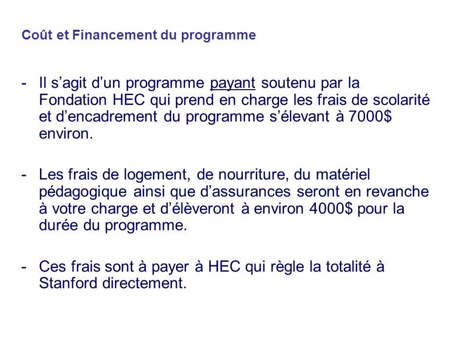 Coût et Financement du programme -Il sagit dun programme payant soutenu par la Fondation HEC qui prend en charge les frais de scolarité et dencadrement du programme sélevant à 7000$ environ.