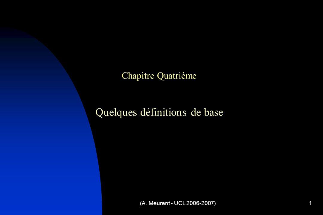 (A. Meurant - UCL 2006-2007)1 Chapitre Quatrième Quelques définitions de base