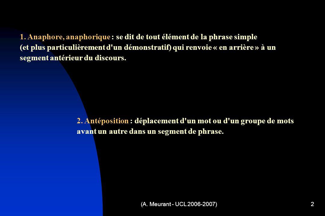(A. Meurant - UCL 2006-2007)2 1. Anaphore, anaphorique : se dit de tout élément de la phrase simple (et plus particulièrement d'un démonstratif) qui r