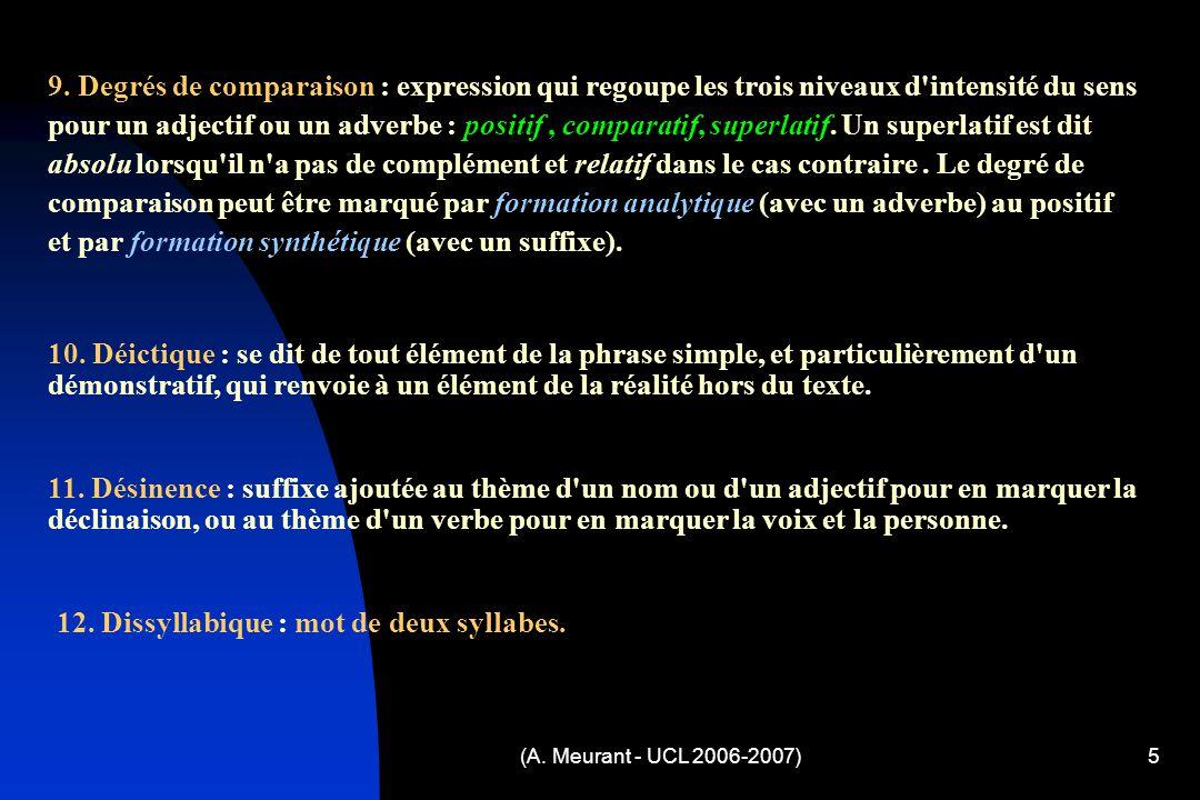(A. Meurant - UCL 2006-2007)5 9. Degrés de comparaison : expression qui regoupe les trois niveaux d'intensité du sens pour un adjectif ou un adverbe :