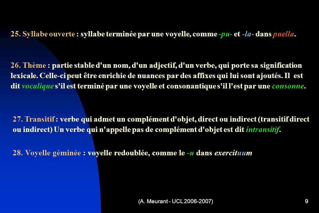 (A. Meurant - UCL 2006-2007)9 25. Syllabe ouverte : syllabe terminée par une voyelle, comme -pu- et -la- dans puella. 26. Thème : partie stable d'un n