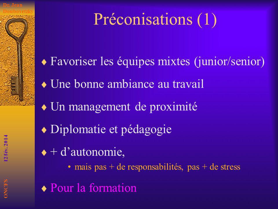Préconisations (1) Favoriser les équipes mixtes (junior/senior) Une bonne ambiance au travail Un management de proximité Diplomatie et pédagogie + dau