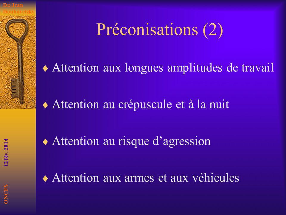 Préconisations (2) Attention aux longues amplitudes de travail Attention au crépuscule et à la nuit Attention au risque dagression Attention aux armes