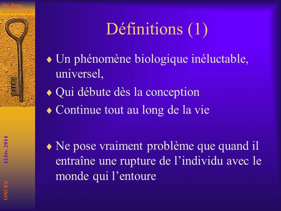 Définitions (1) Un phénomène biologique inéluctable, universel, Qui débute dès la conception Continue tout au long de la vie Ne pose vraiment problème