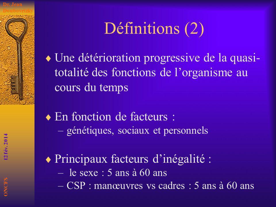Définitions (2) Une détérioration progressive de la quasi- totalité des fonctions de lorganisme au cours du temps En fonction de facteurs : –génétique